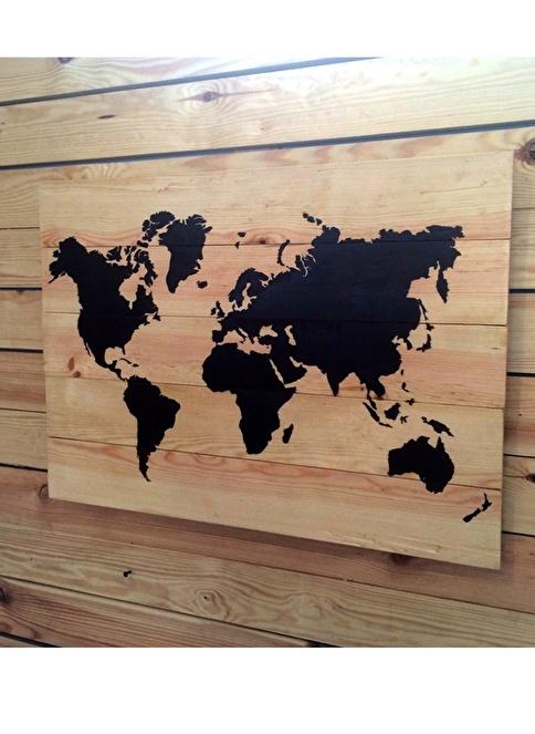 Oldwooddesign Dünya Haritası Tablo Renkli